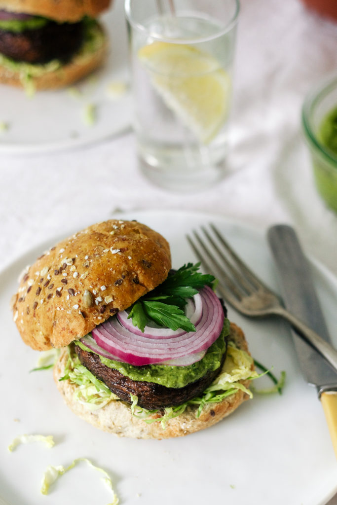 Portabello Burgers with Creamy Avocado Sauce-15