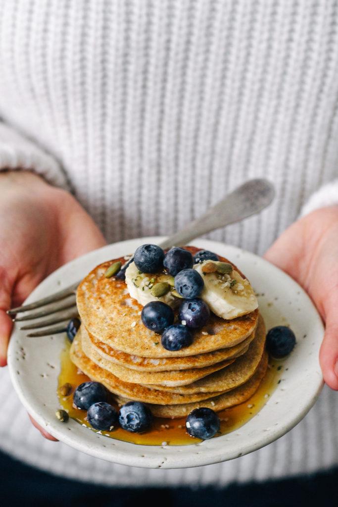 vegan banana buckwheat pancakes