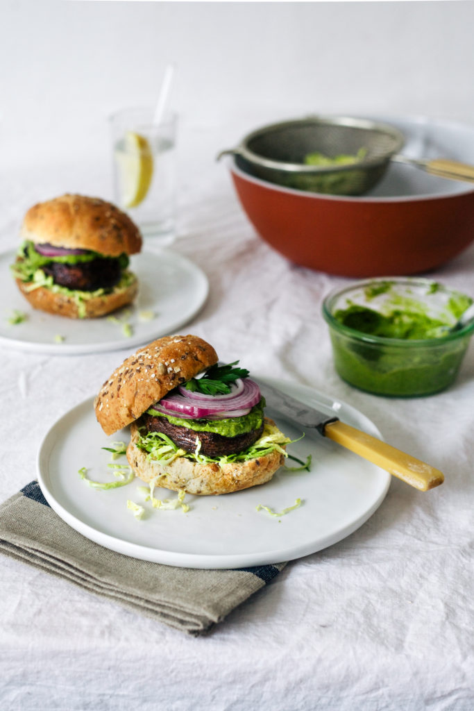 Portobello Burger with Creamy Avocado Sauce - Wholehearted Eats