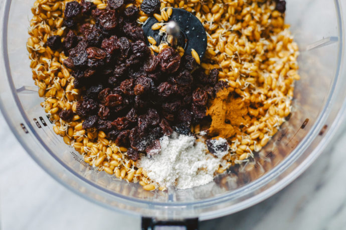Sprouted wheat and other ingredients in blender