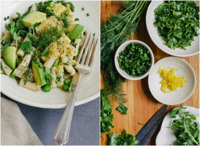 SPRING HERB PASTA WITH LEMON + PEAS