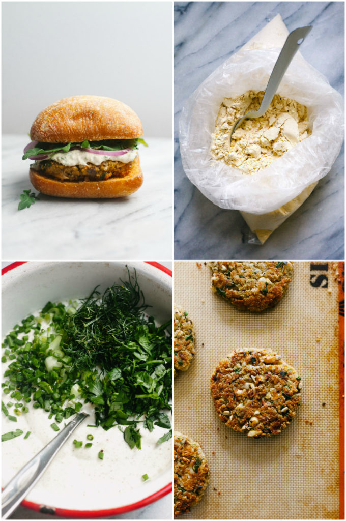 WHITE BEAN QUINOA BURGER WITH CREAMY RANCH SAUCE