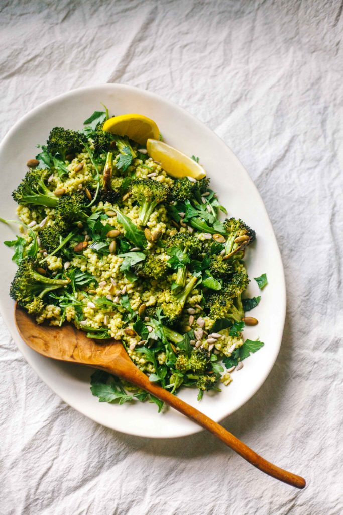 BASIL-LEMON SCENTED MILLET + ROASTED BROCCOLI