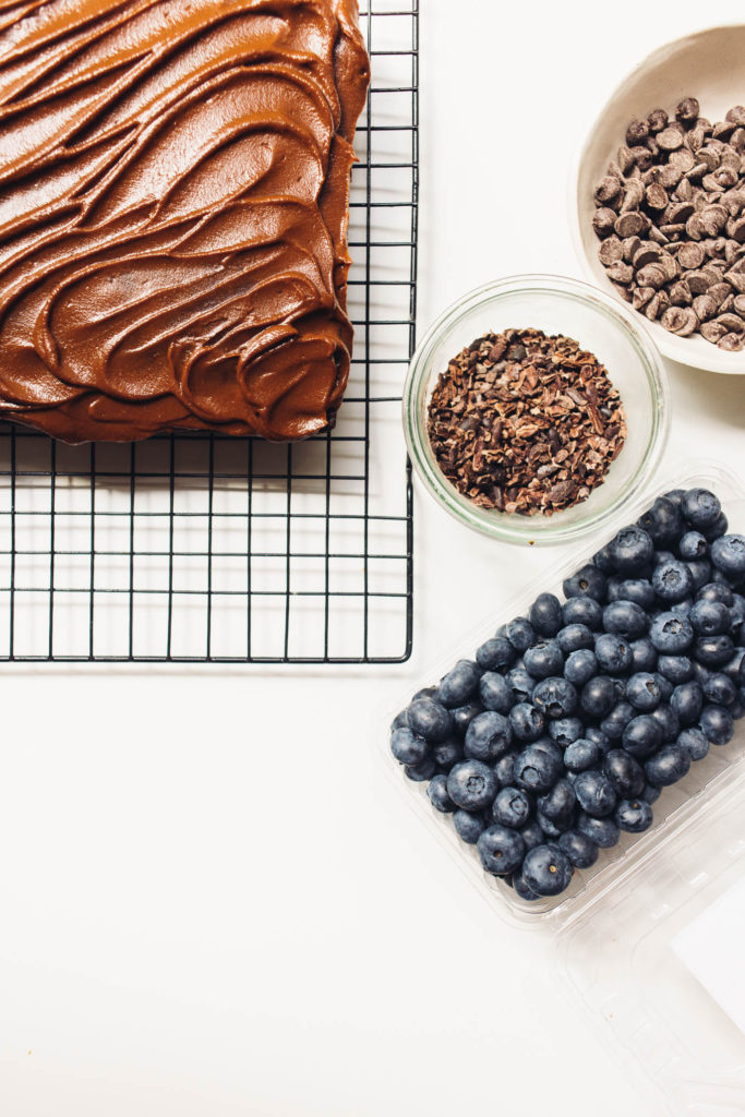 Simple one bowl vegan chocolate cake with healthier yam chocolate icing. The perfect snacking cake to have on hand for any occasion