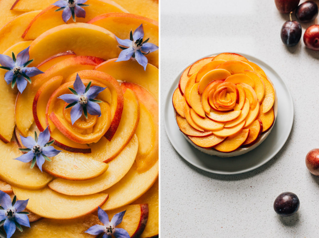 No bake vegan cashew cheesecake with ginger and fresh peaches.