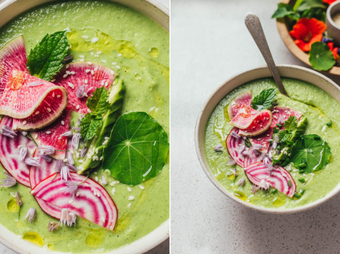 Vegan green gazpacho (cold soup) with cucumbers, avocado, and fresh herbs. #vegan #soup #coldsoup