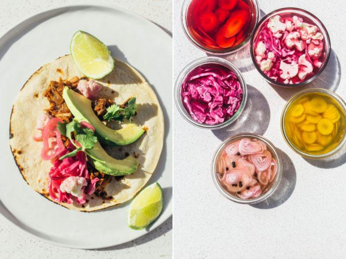A vegan take on the classic taco carnitas, filled with spiced jackfruit. #vegan #tacos #jackfruit
