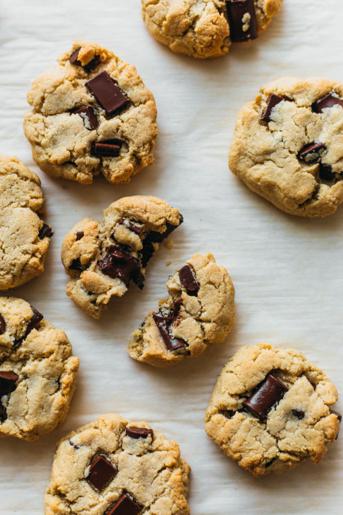Vegan and gluten free almond flour chocolate chip cookies