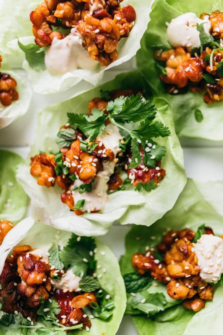 Vegan tempeh lettuce cups