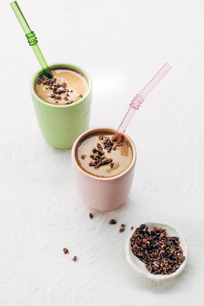 healthy chocolate hemp smoothie that tastes like a milkshake