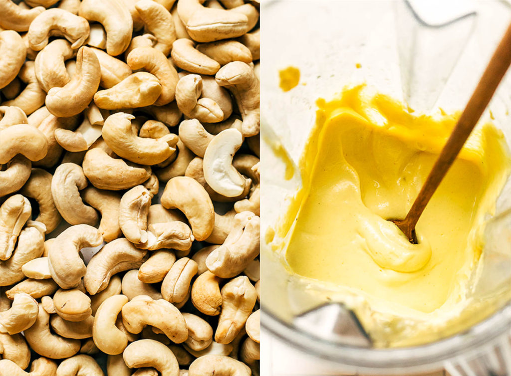 Cashews soaking and cashews in a blender being pureed into a creamy sauce.