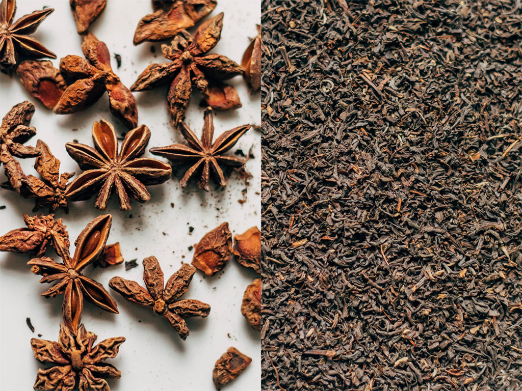 A close up of iced masala chai spices like star anise and tea