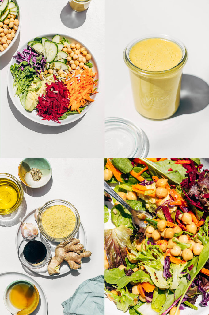Collage of salad dressing, ingredients, and finished salad