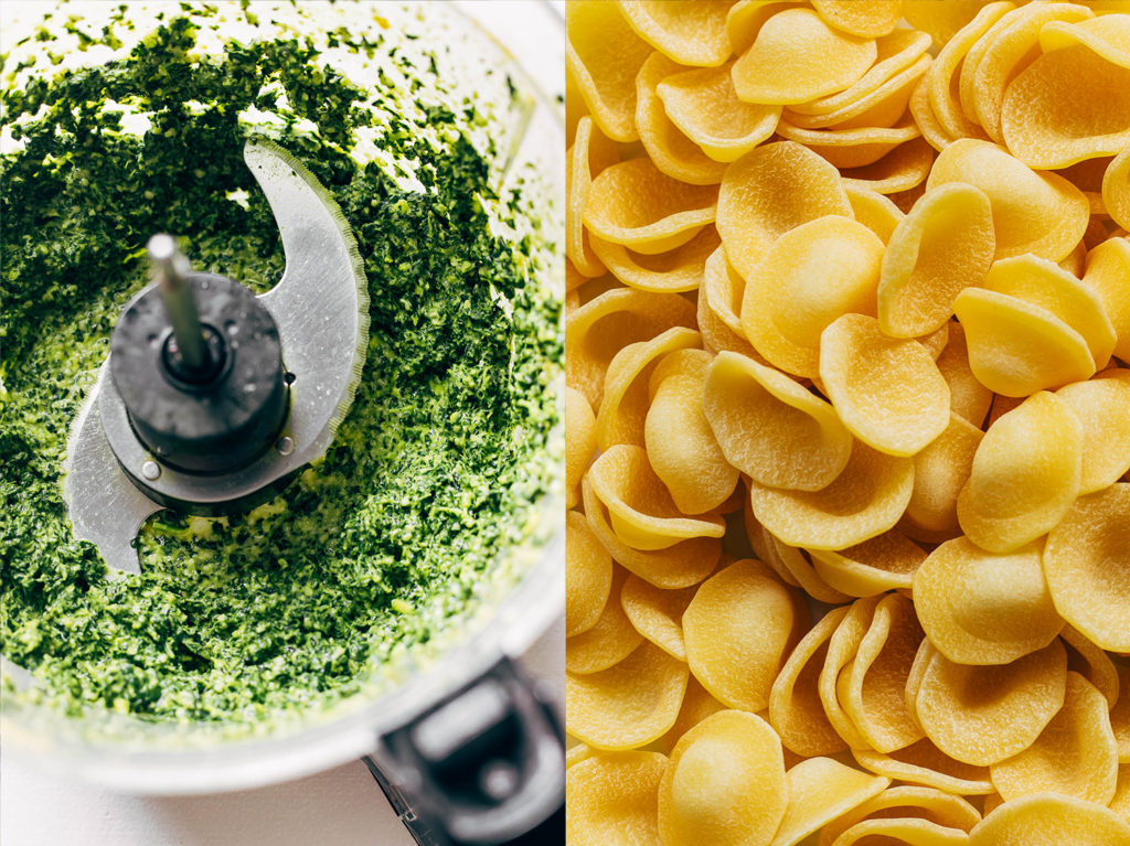 Close up pf kale and past for vegan kale pesto pasta