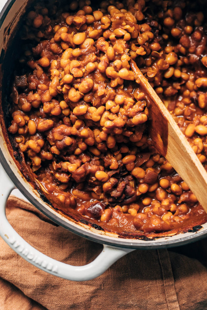 Baked vegan beans in a pot after being cooked.