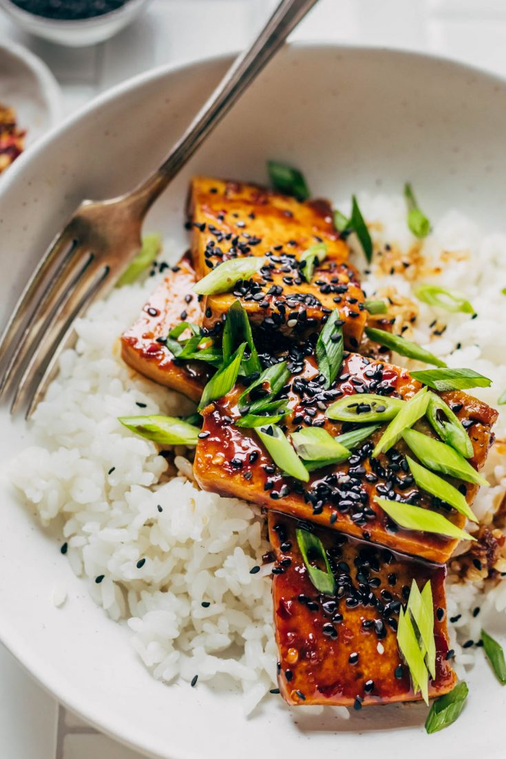 Teriyaki tofu on a bed of rice with green onions and sesame seeds