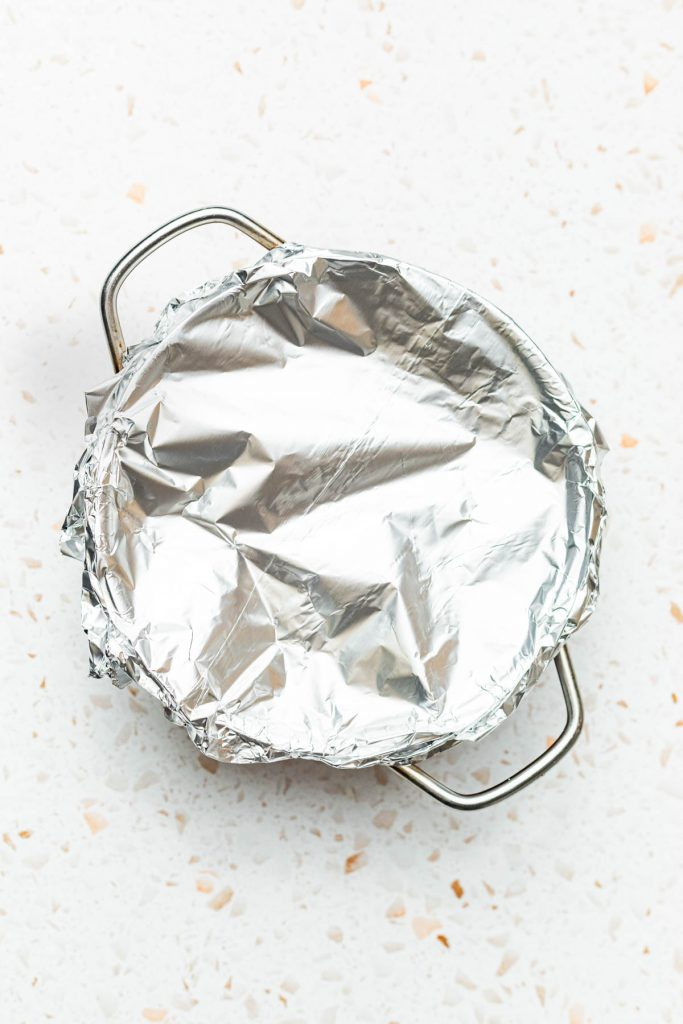 pot covered with tin foil